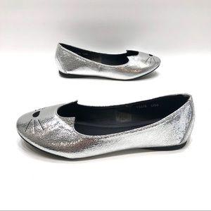 TUK silver cat flats women's size 8